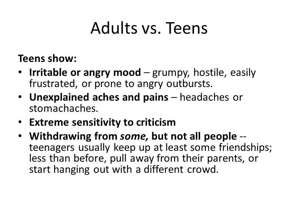 Adults vs. Teens Teens show: