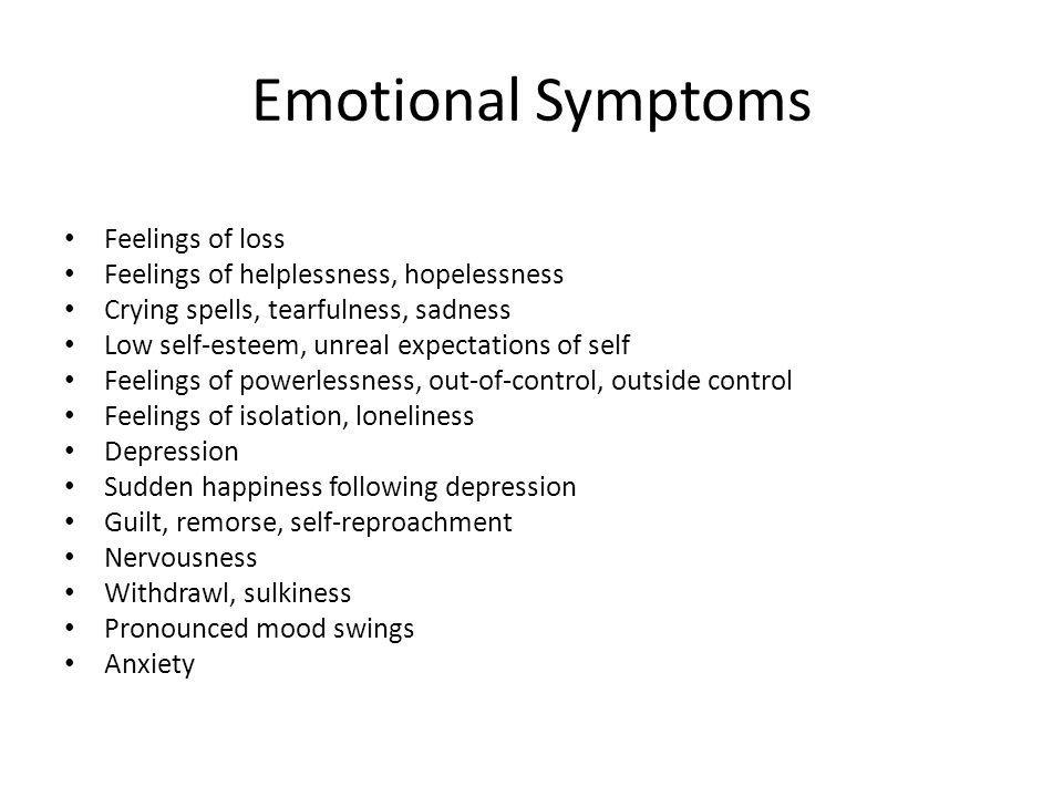 Emotional Symptoms Feelings of loss