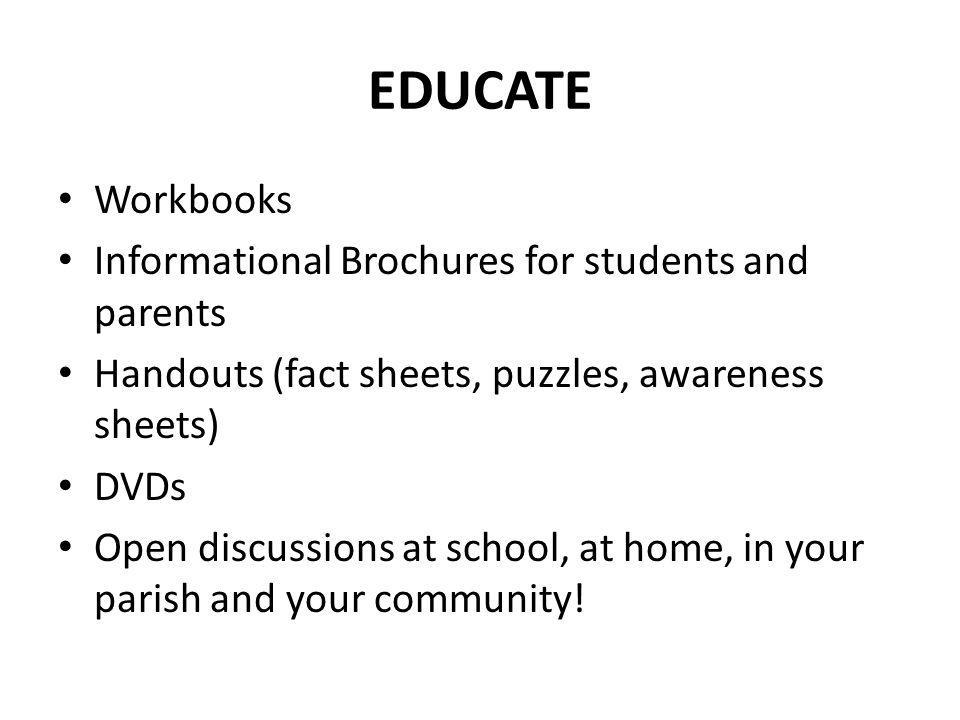 EDUCATE Workbooks Informational Brochures for students and parents
