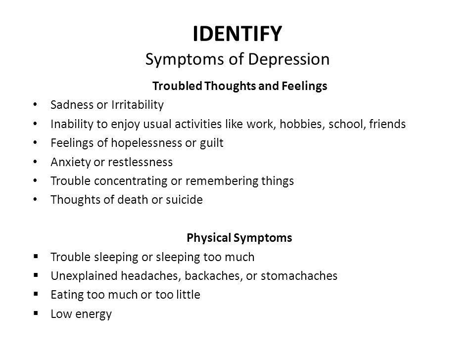 IDENTIFY Symptoms of Depression