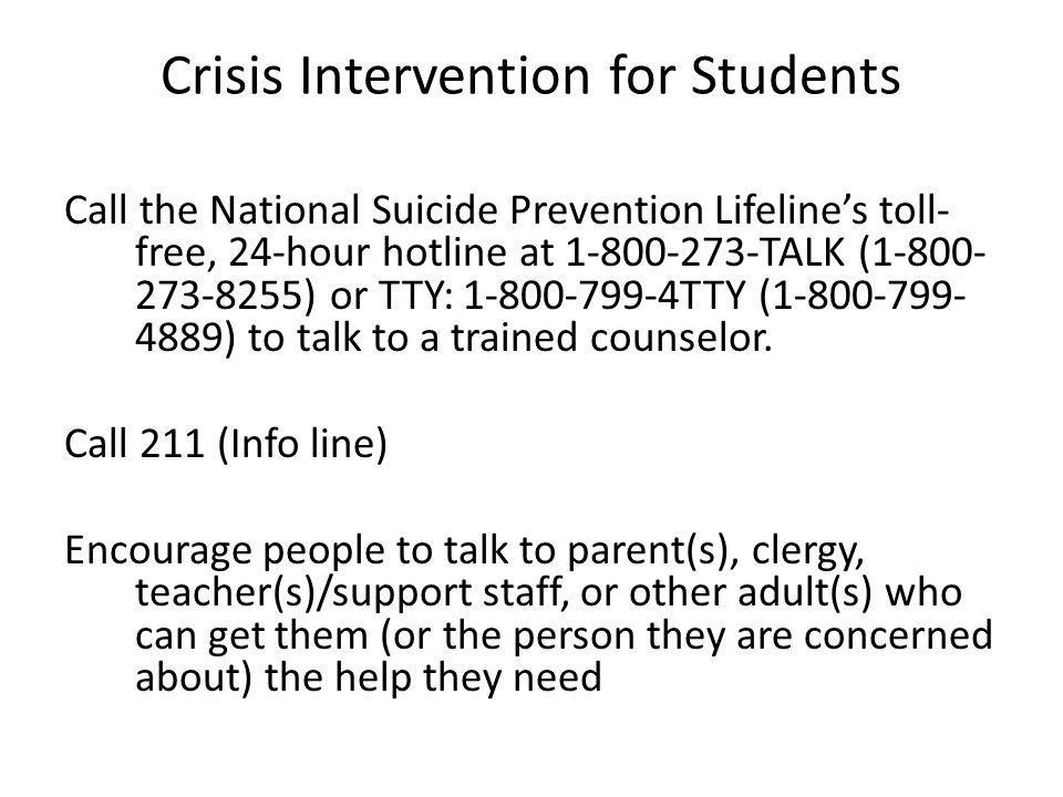 Crisis Intervention for Students