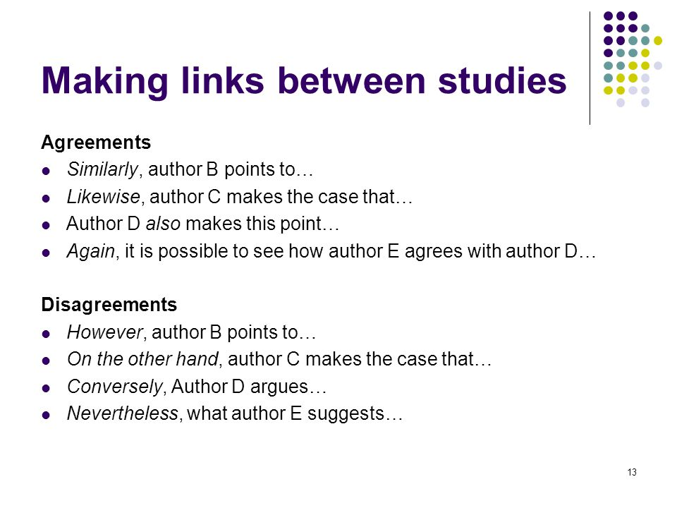 Making links between studies