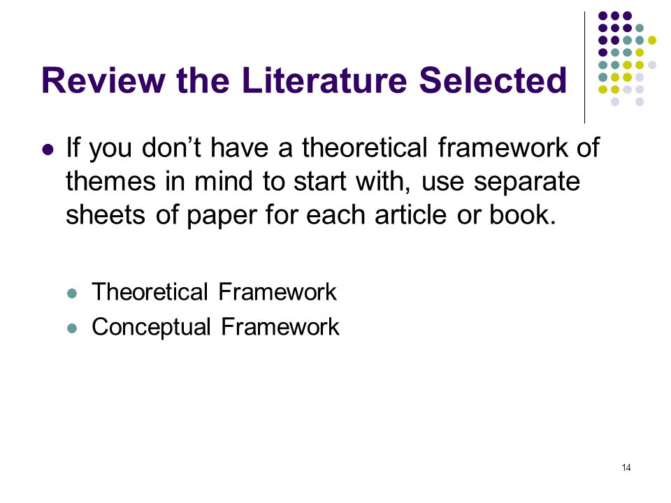 Review the Literature Selected