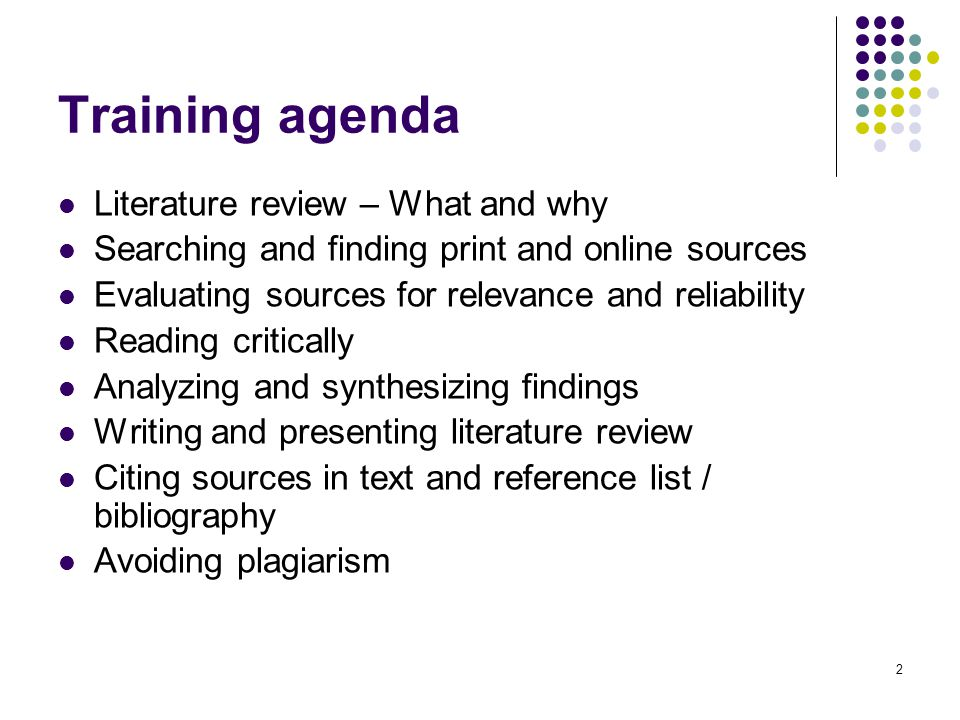 Training agenda Literature review – What and why