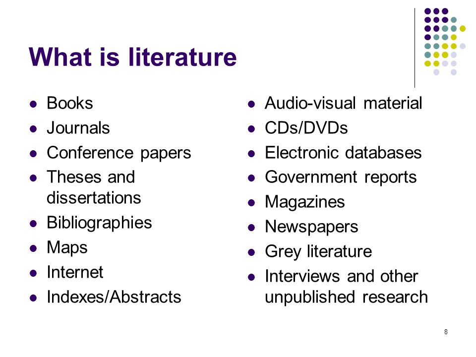 What is literature Books Journals Conference papers