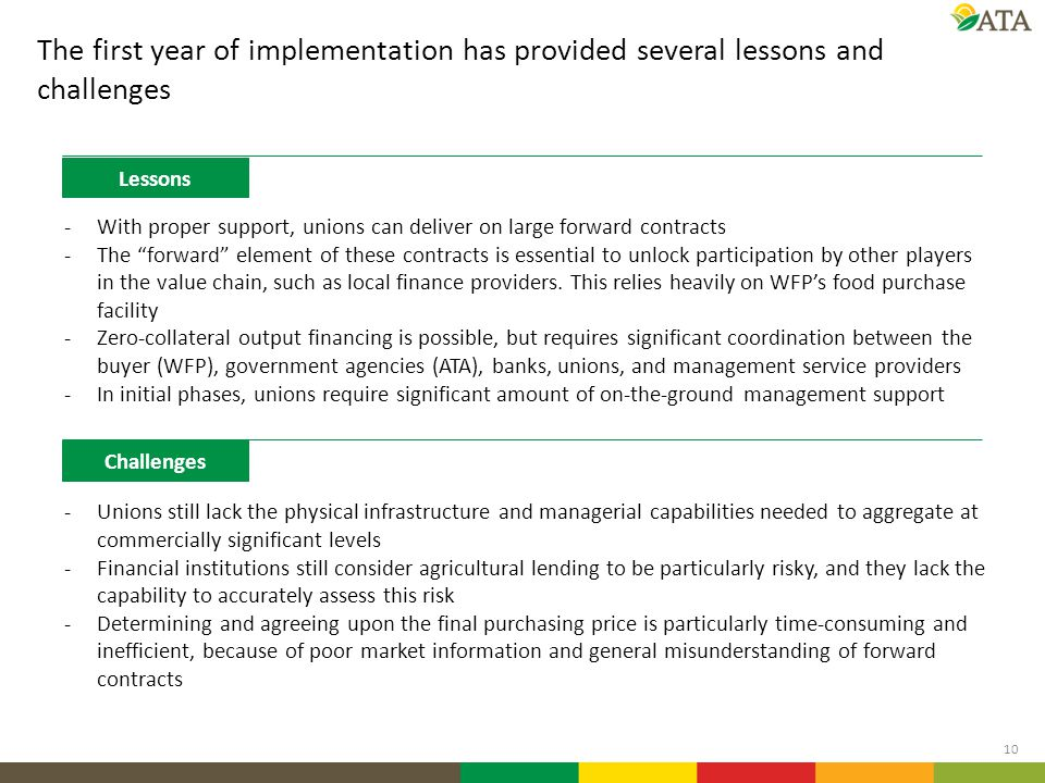 The first year of implementation has provided several lessons and challenges