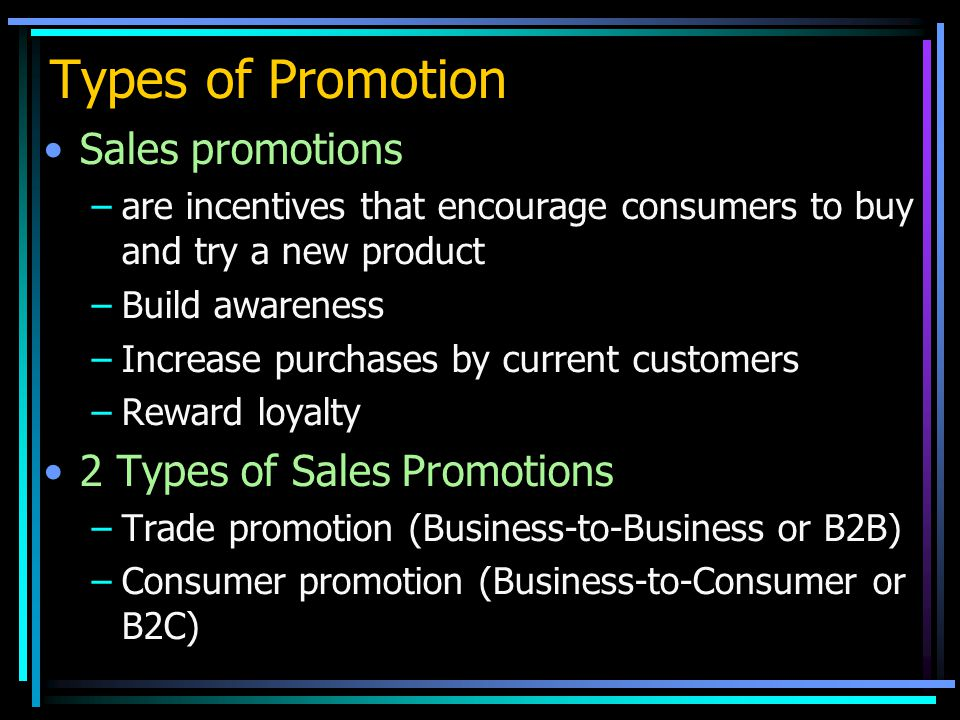 Types of Promotion Sales promotions 2 Types of Sales Promotions