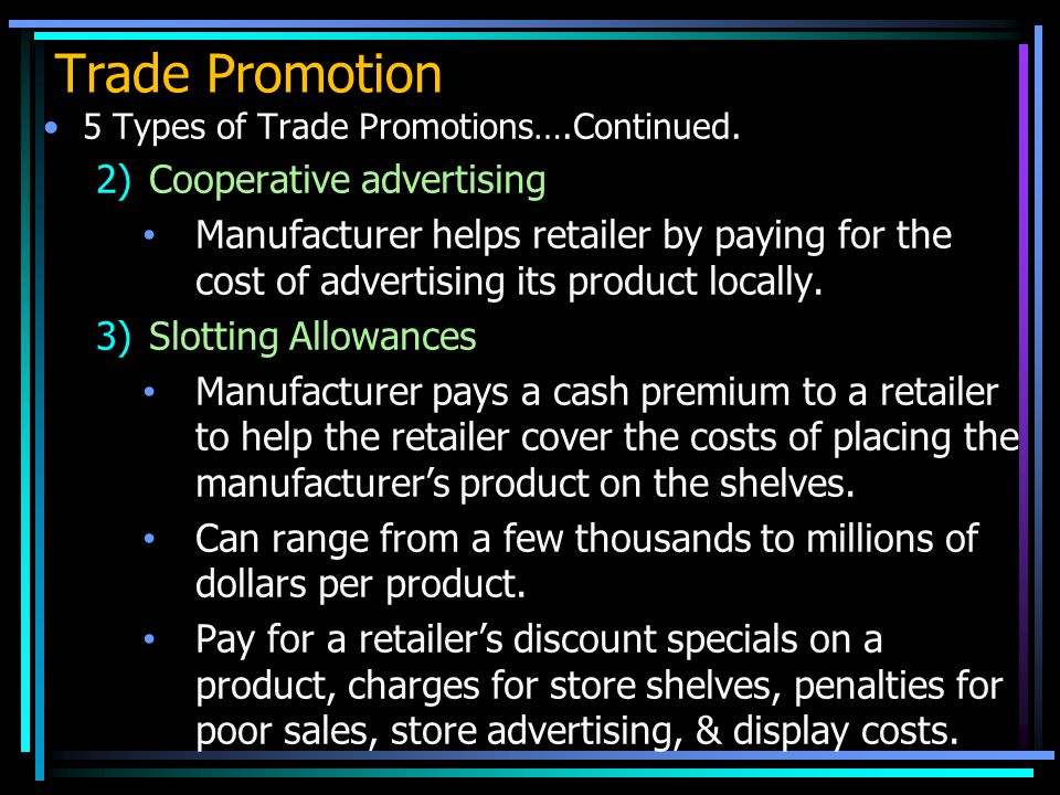 Trade Promotion Cooperative advertising