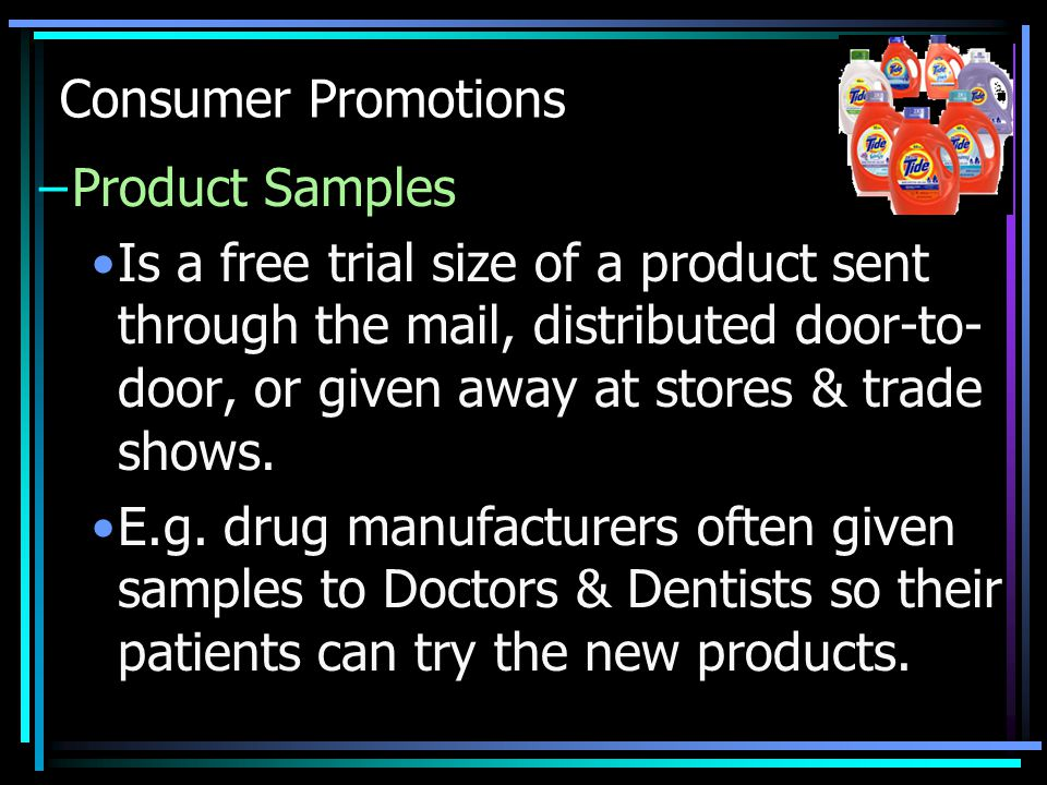 Consumer Promotions Product Samples.