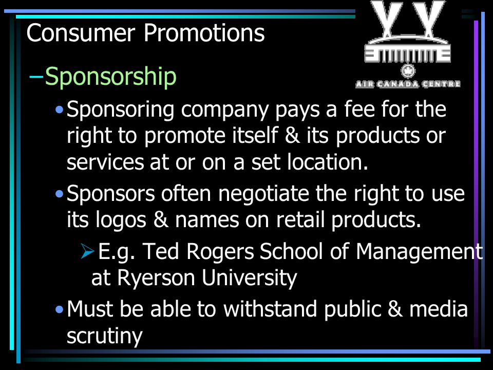 Consumer Promotions Sponsorship