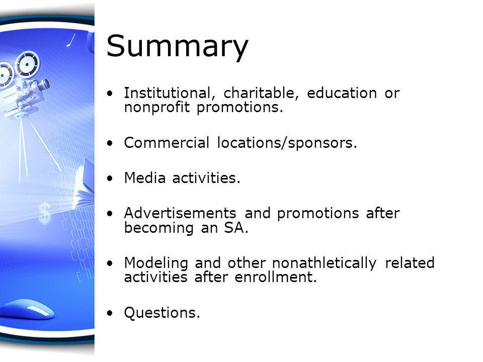 Summary Institutional, charitable, education or nonprofit promotions.