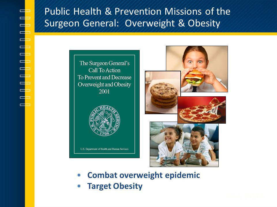Public Health & Prevention Missions of the Surgeon General: Overweight & Obesity