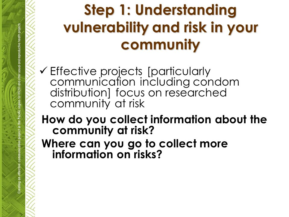 Step 1: Understanding vulnerability and risk in your community