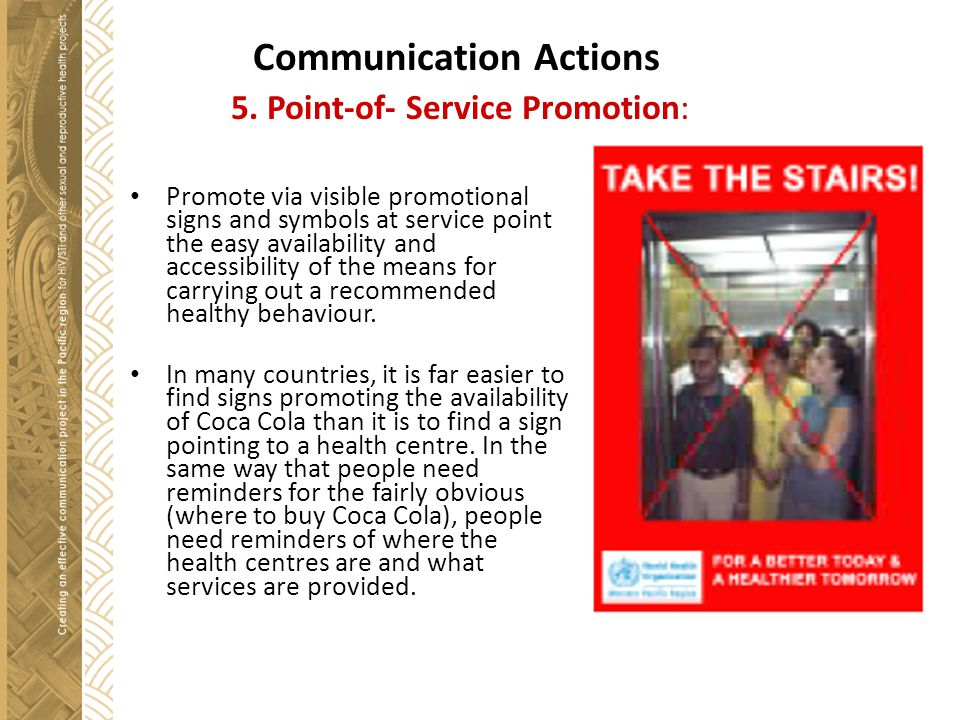 Communication Actions 5. Point-of- Service Promotion: