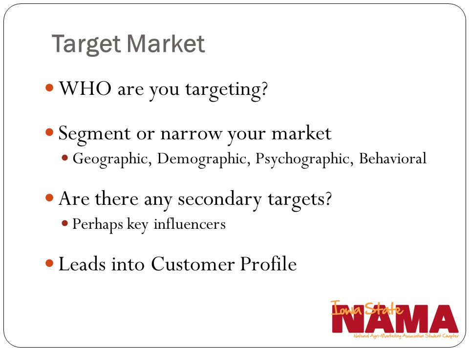 Target Market WHO are you targeting Segment or narrow your market