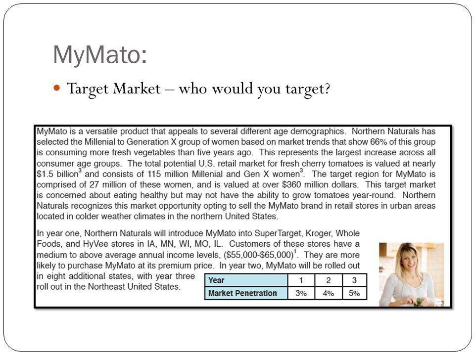 MyMato: Target Market – who would you target Ellie