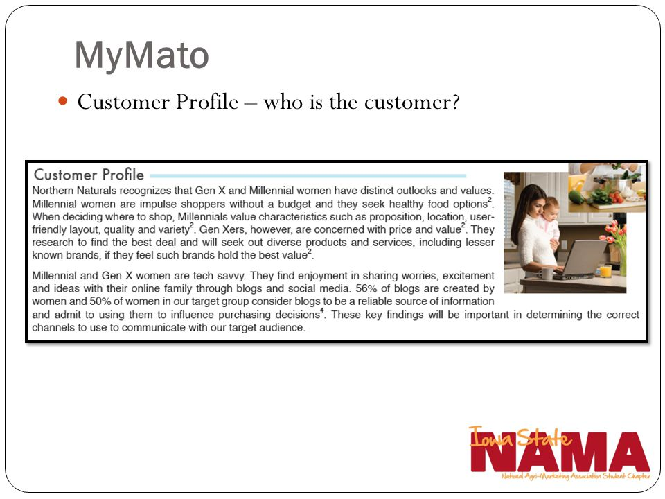 MyMato Customer Profile – who is the customer Ellie