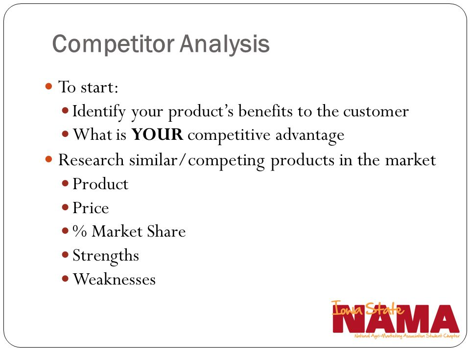 Competitor Analysis To start: