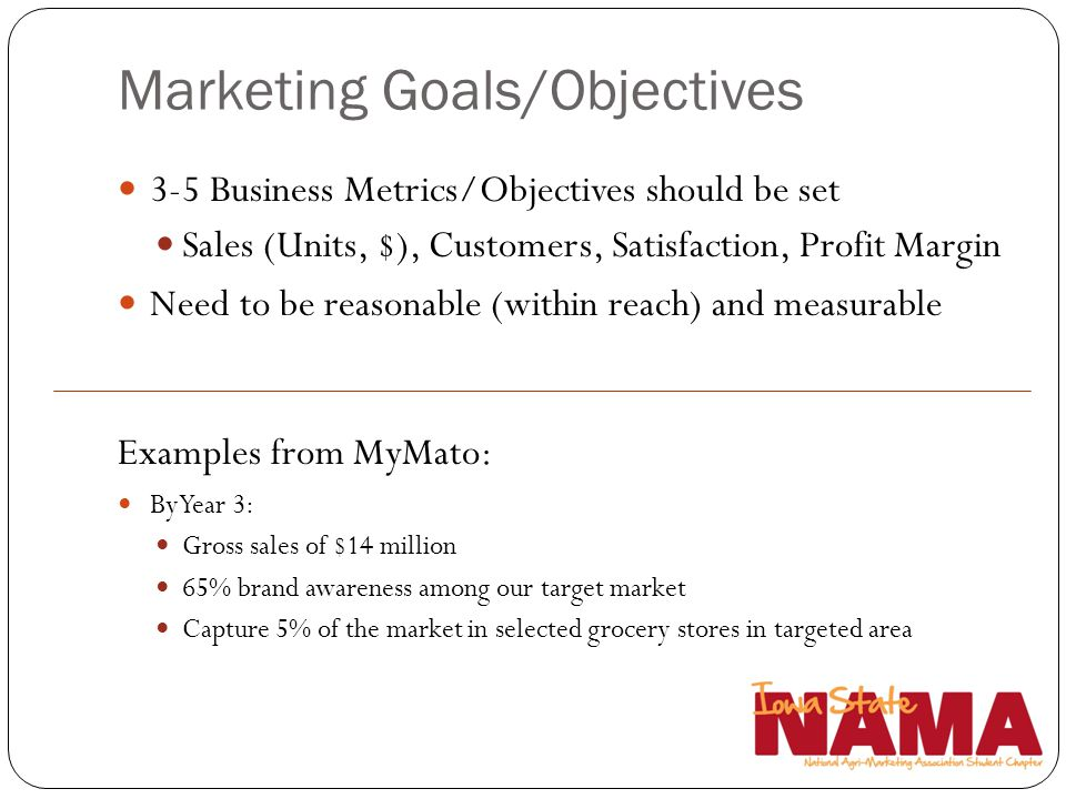 Marketing Goals/Objectives