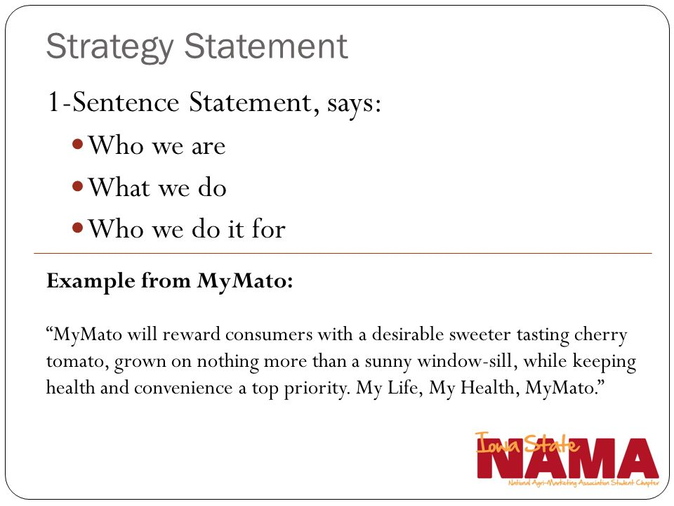 Strategy Statement 1-Sentence Statement, says: Who we are What we do