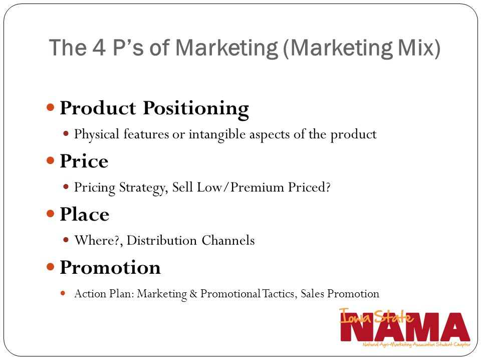 The 4 P's of Marketing (Marketing Mix)
