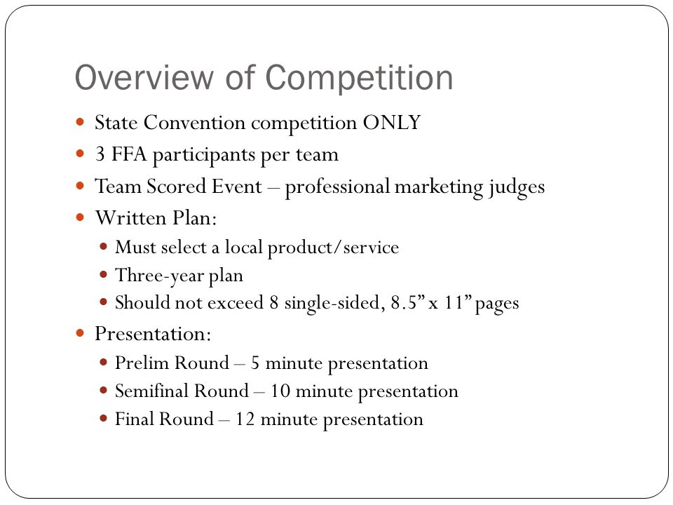 Overview of Competition