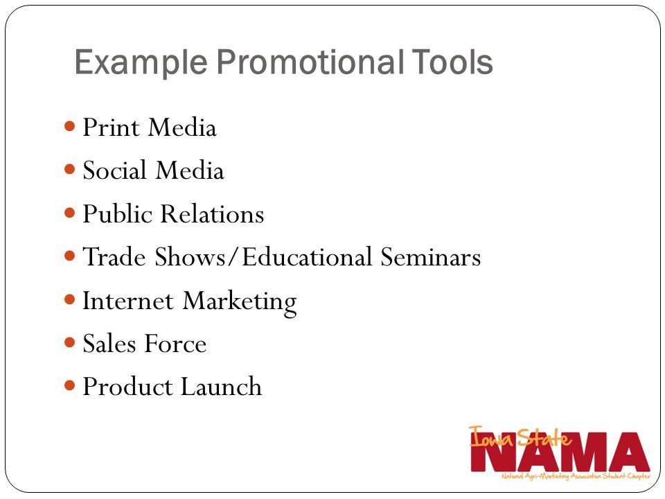 Example Promotional Tools