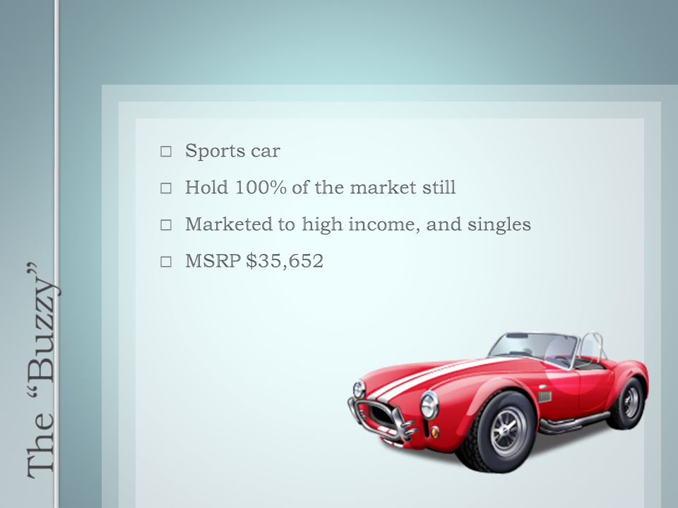 The Buzzy Sports car Hold 100% of the market still