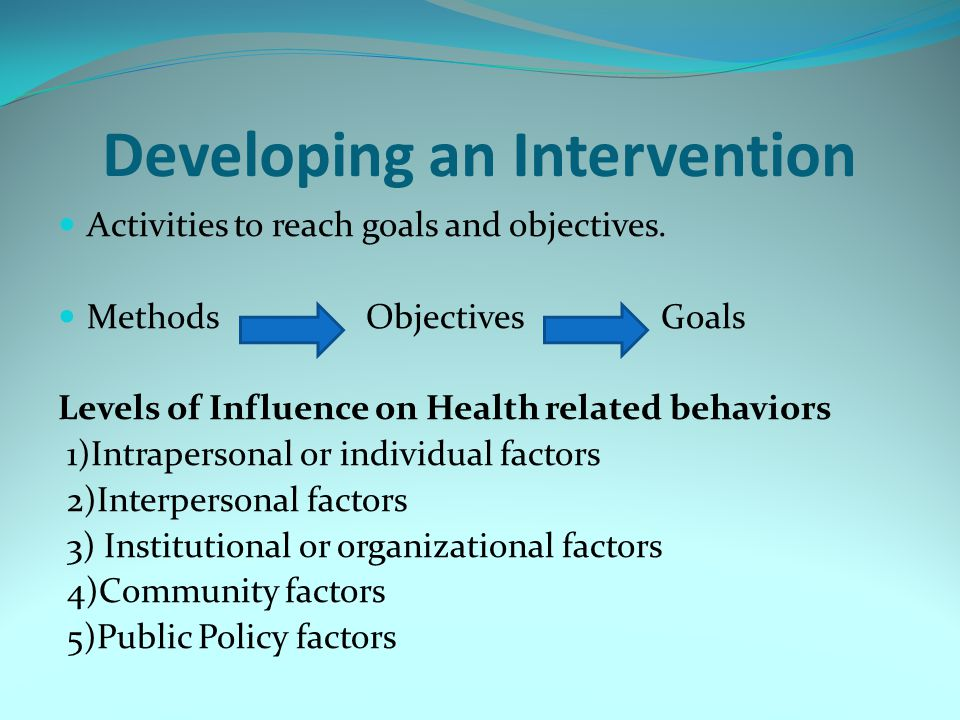 Developing an Intervention