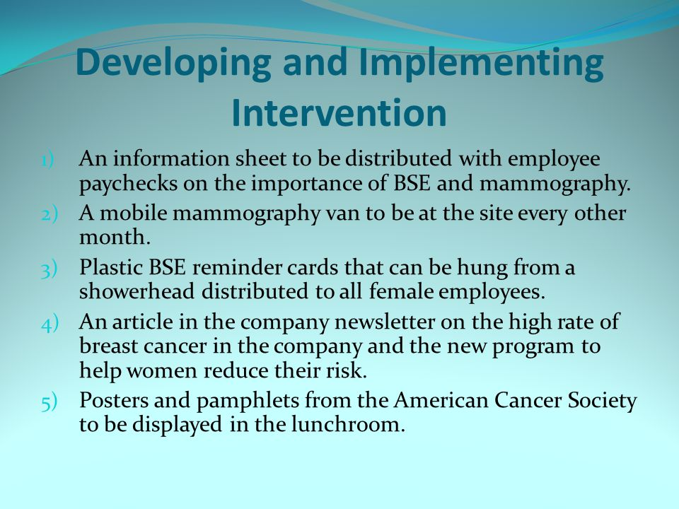 Developing and Implementing Intervention