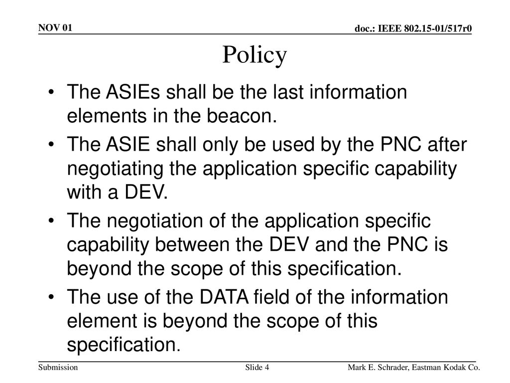 Policy The ASIEs shall be the last information elements in the beacon.