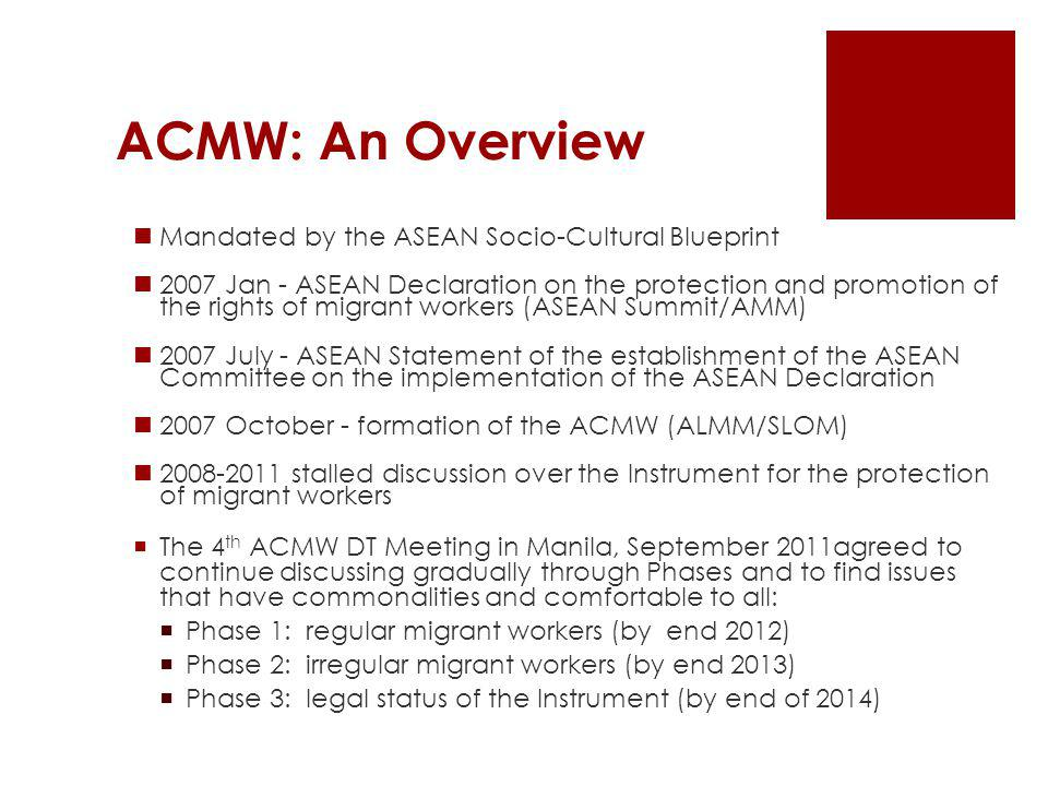 ACMW: An Overview Mandated by the ASEAN Socio-Cultural Blueprint