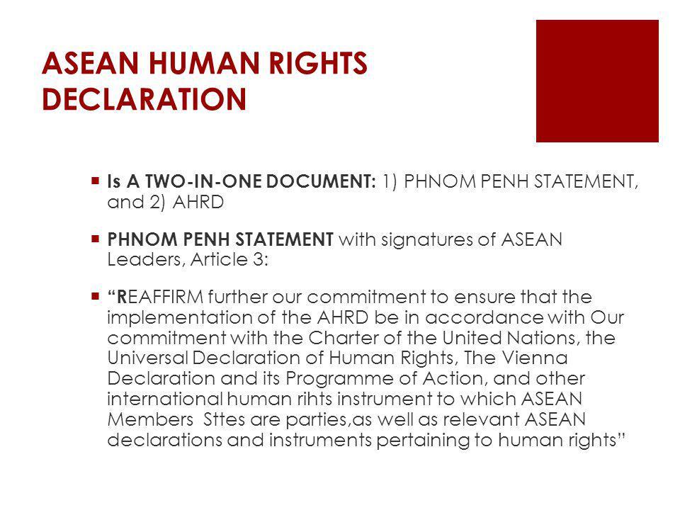 ASEAN HUMAN RIGHTS DECLARATION