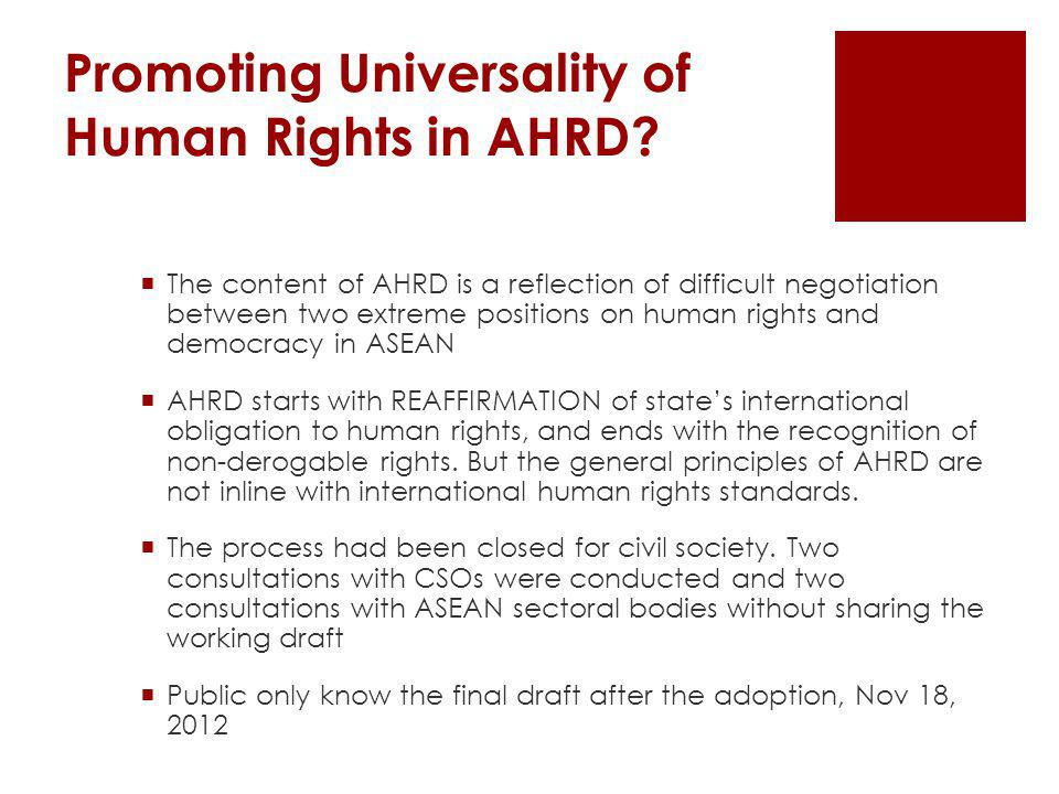 Promoting Universality of Human Rights in AHRD