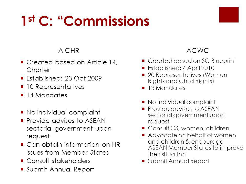 1st C: Commissions AICHR ACWC Created based on Article 14, Charter