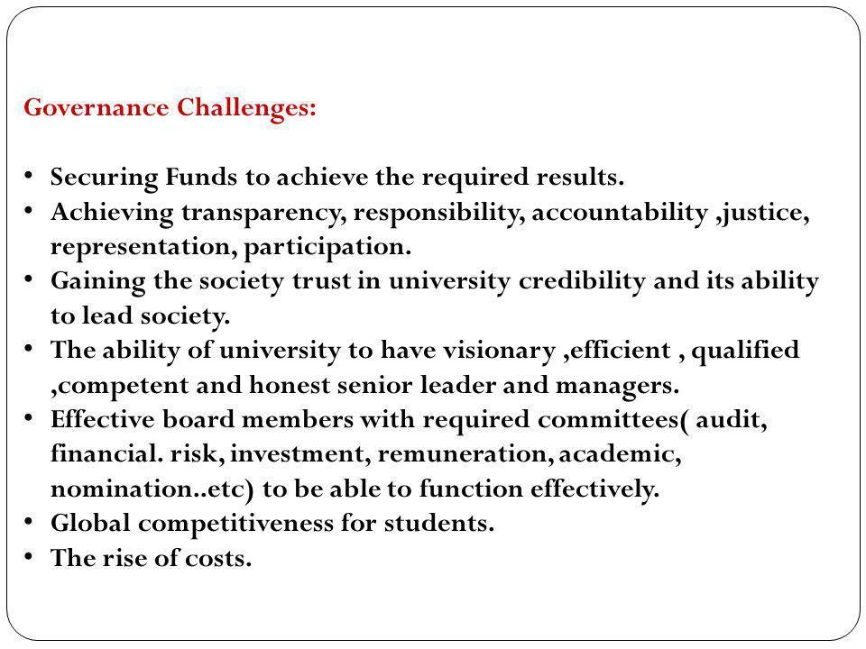 Governance Challenges: