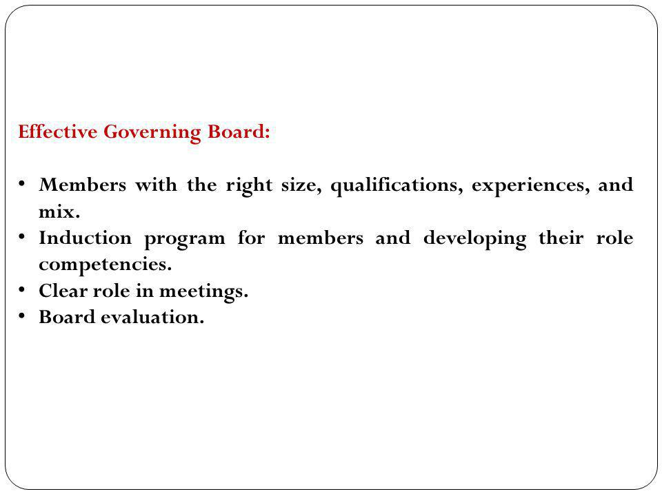 Effective Governing Board: