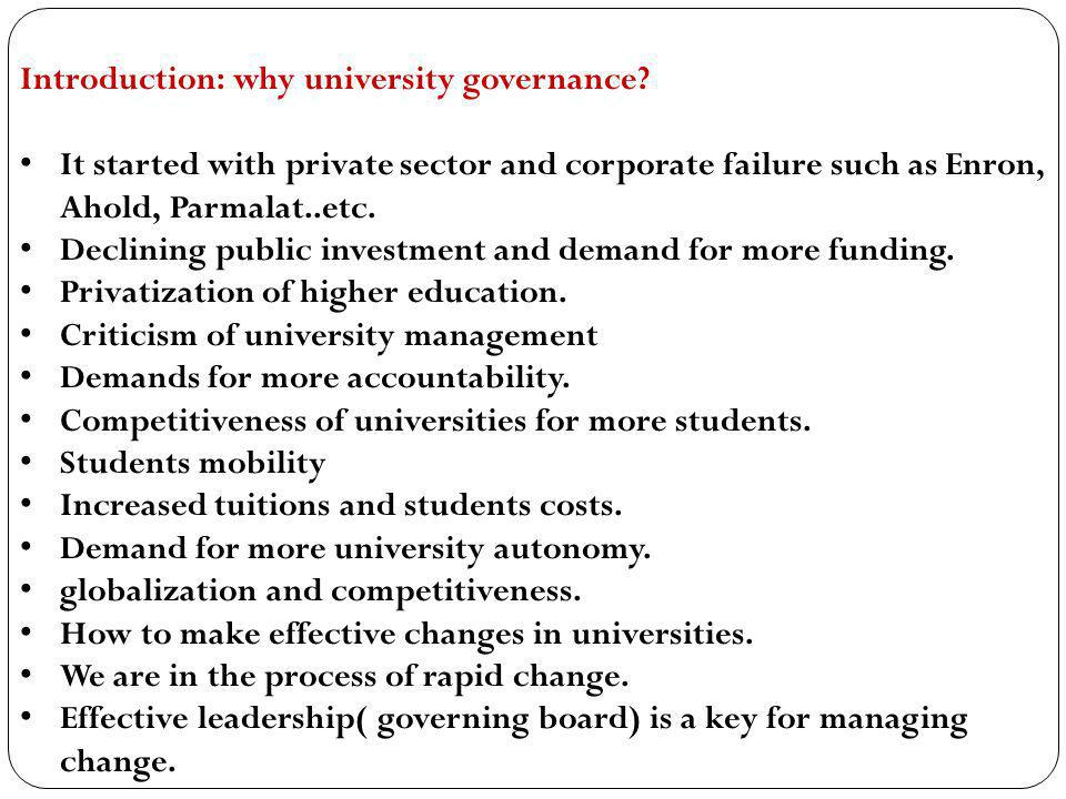 Introduction: why university governance