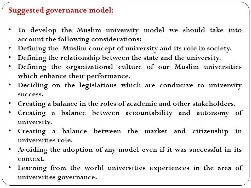 Suggested governance model: