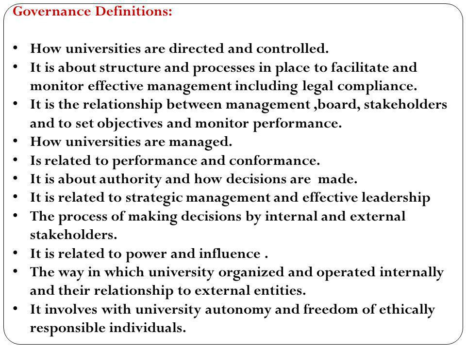 Governance Definitions: