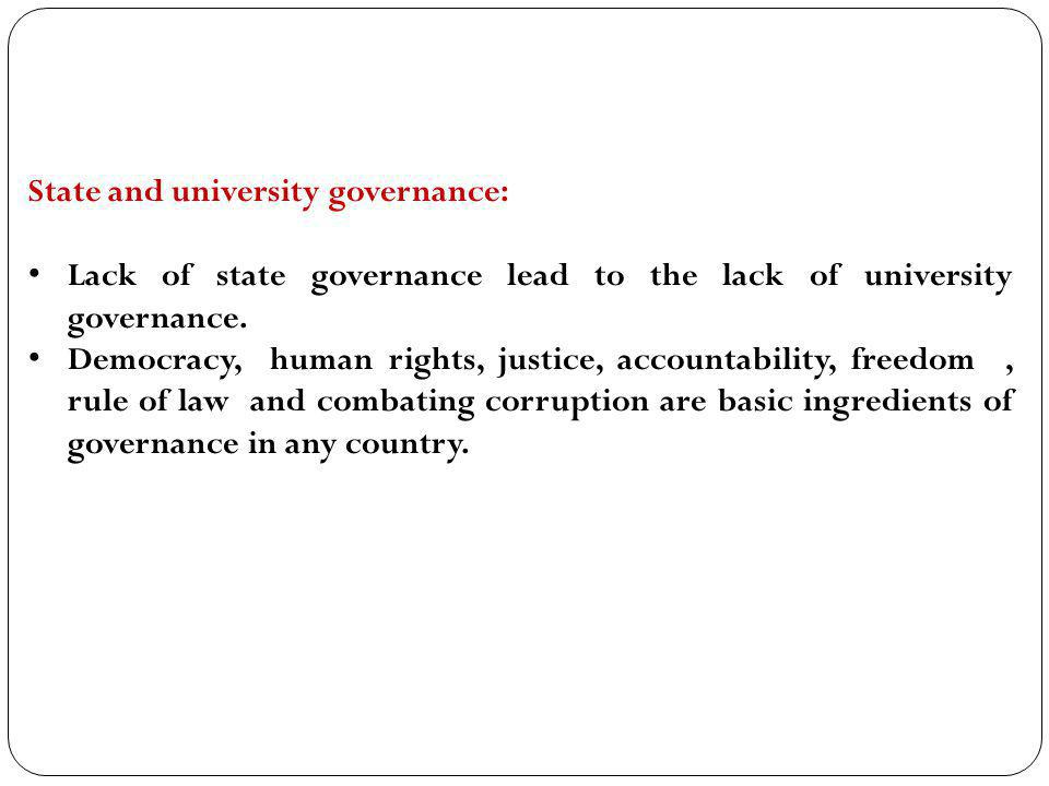 State and university governance: