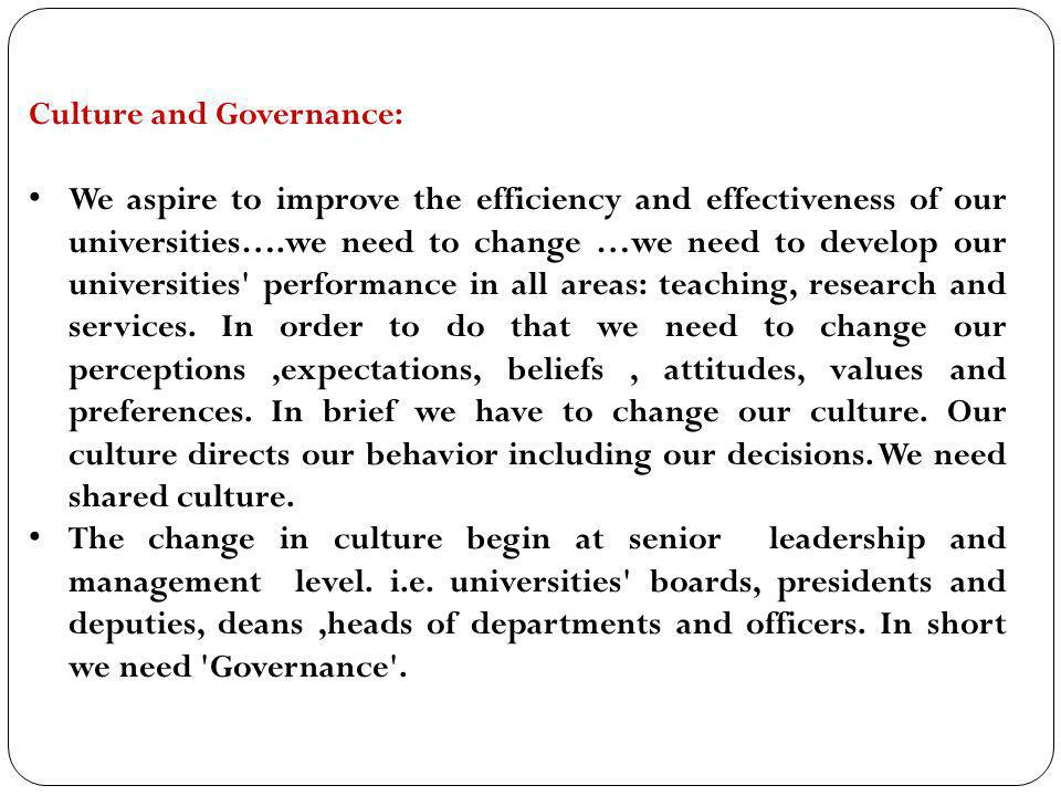 Culture and Governance: