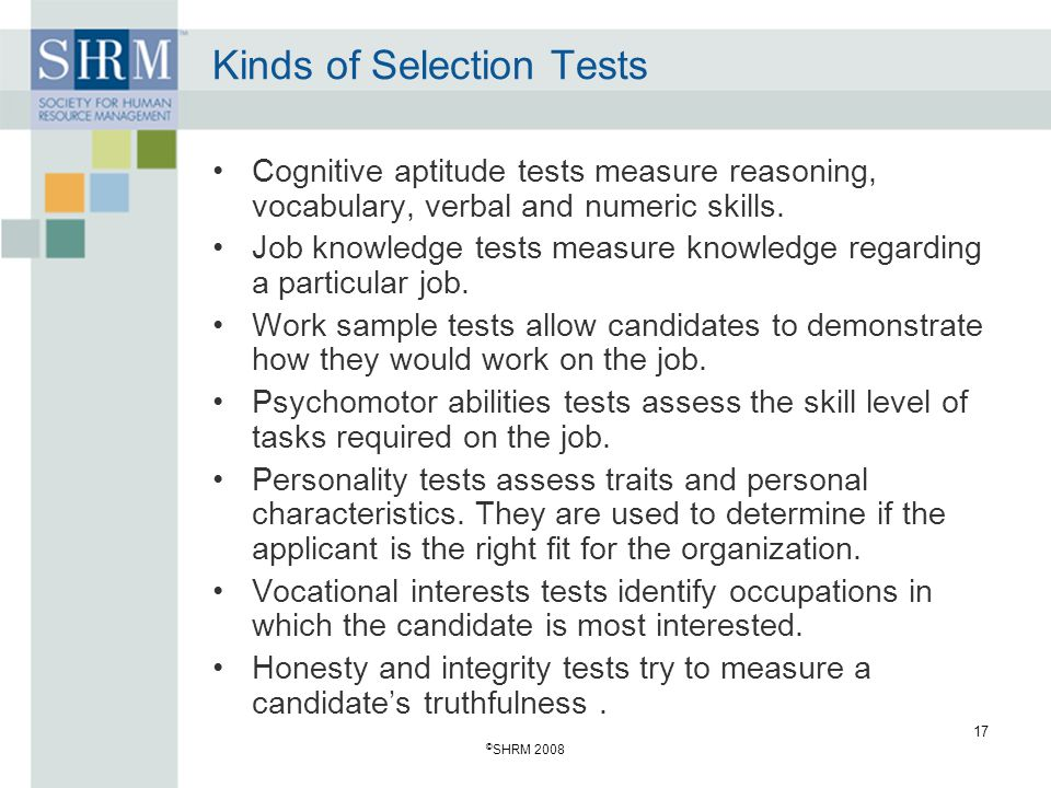 Kinds of Selection Tests
