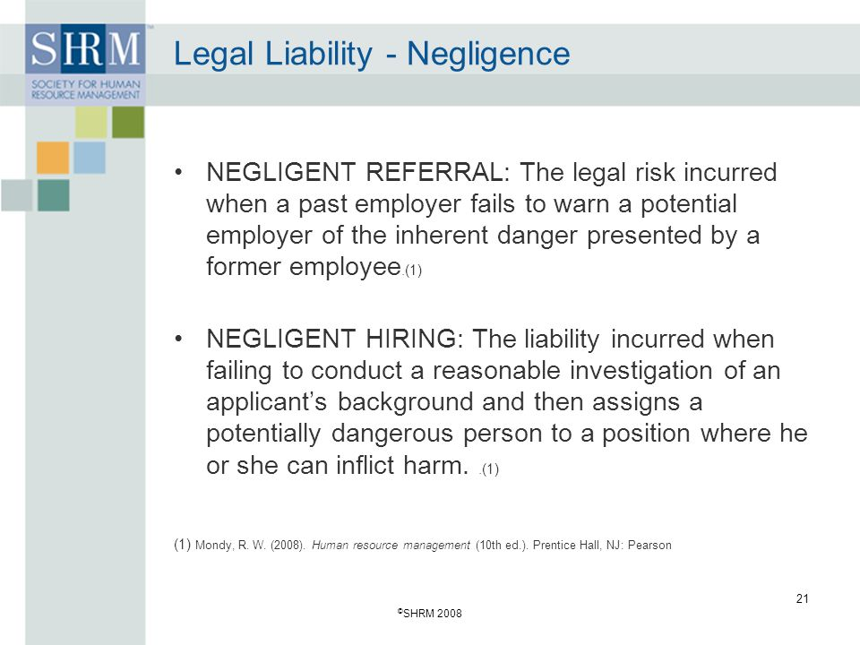 Legal Liability - Negligence