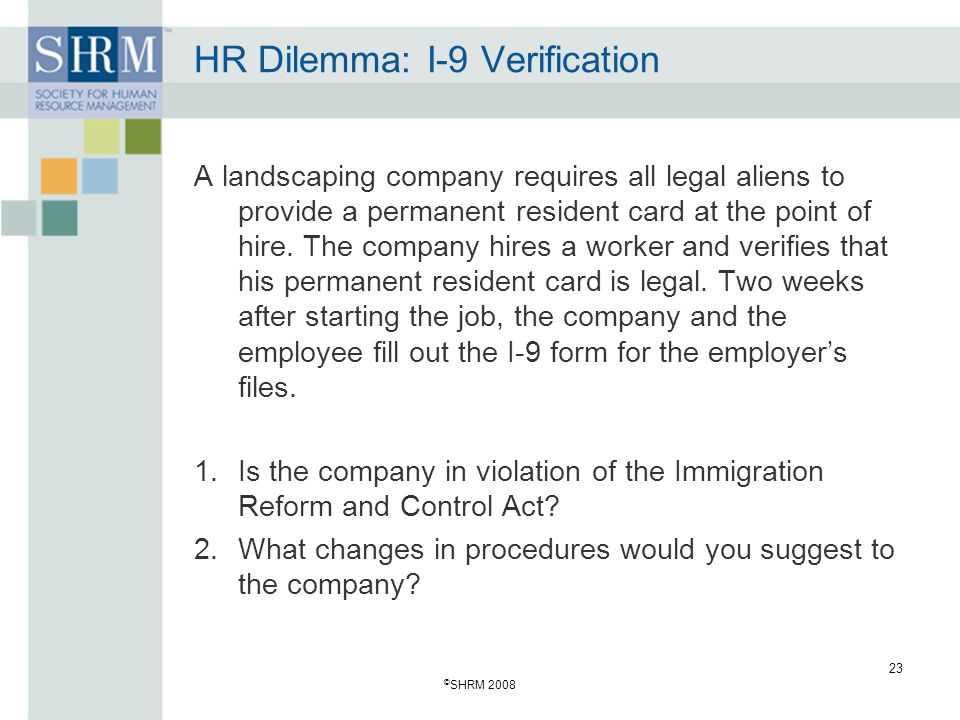 HR Dilemma: I-9 Verification