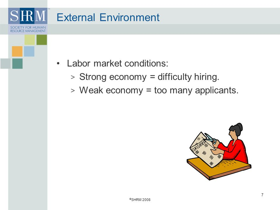 External Environment Labor market conditions: