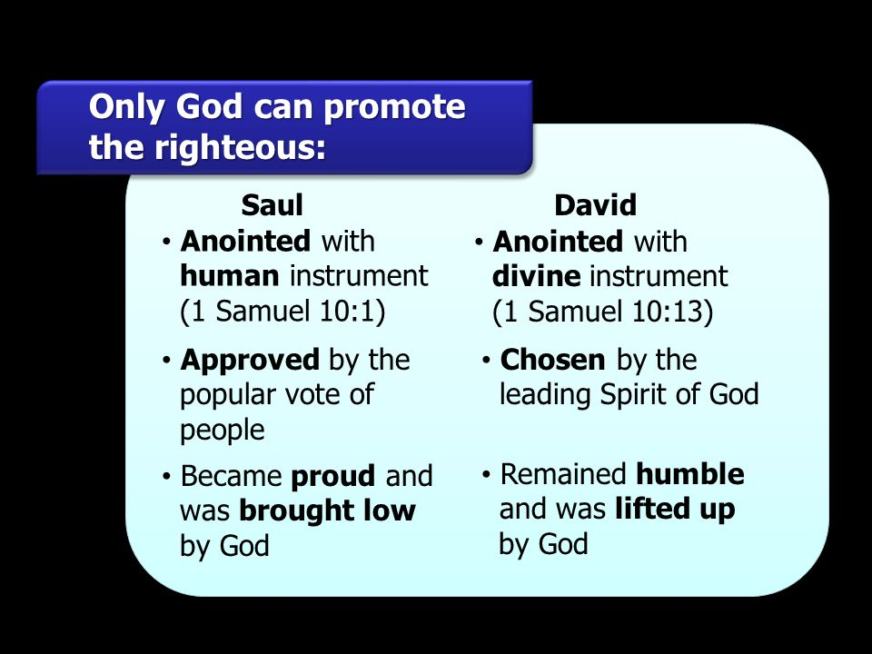 Only God can promote the righteous: Saul David Anointed with