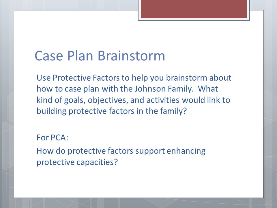 Case Plan Brainstorm