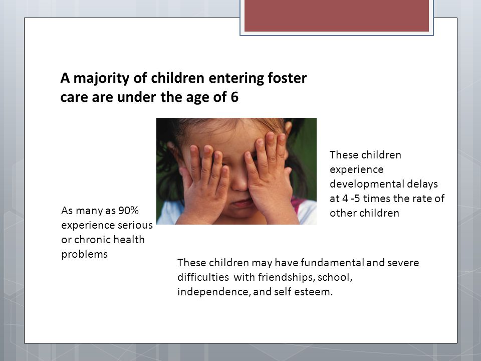 A majority of children entering foster care are under the age of 6