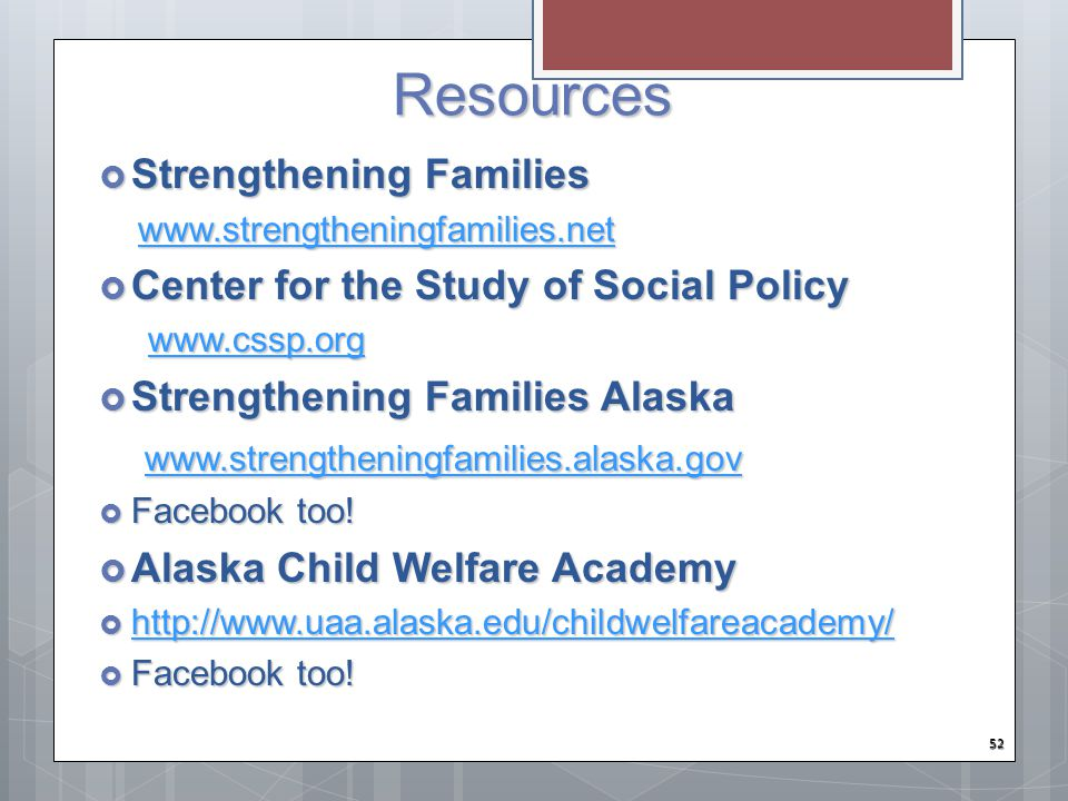 Resources Strengthening Families Center for the Study of Social Policy